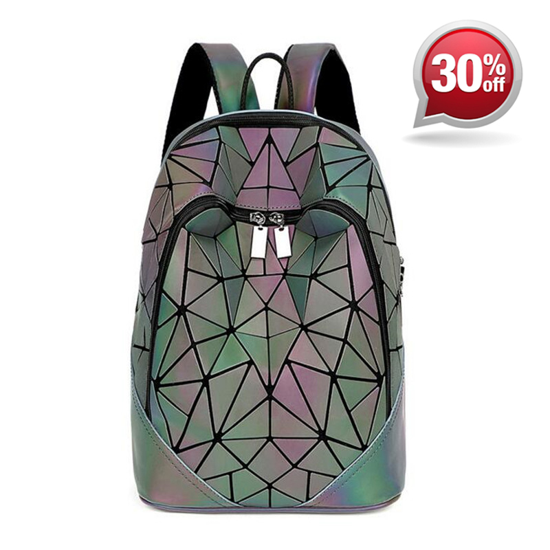 все цены на Women Travel PU Laser Backpack New Geometric Shoulder Bag Hologram Bao Backpack Folding Student School Bags for Teenage Girl
