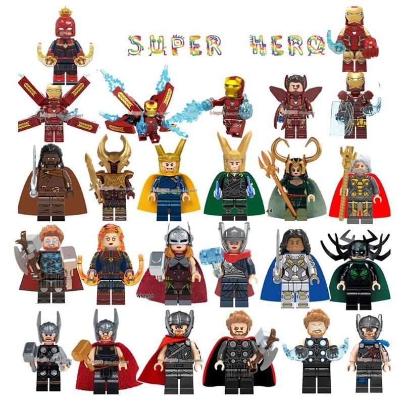 Marvel Super Heroes Infinity War Thanos Spider Iron Man Captain America Avengers Endgame Thor Antman Building Blocks Toys Gifts