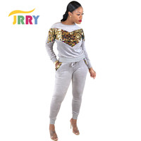 JRRY Sexy Women Jumpsuit Two Pieces Set Jumpsuit Sequins Front Top Jumpsuit Sequins Pockets Pants Jumpsuit