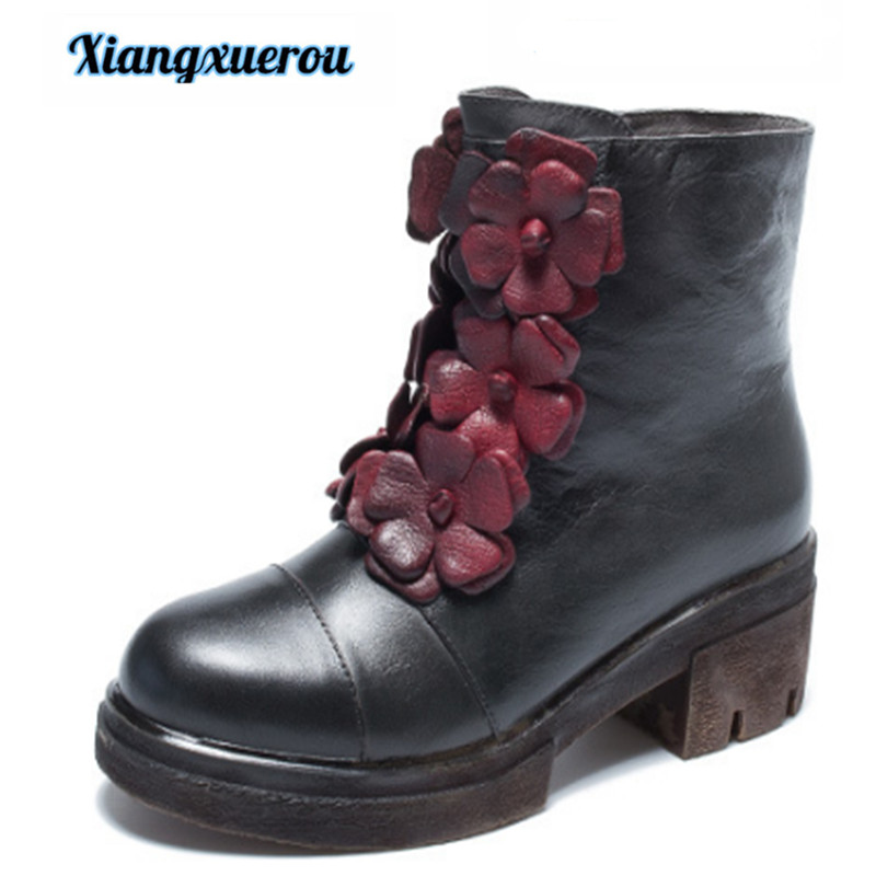 Xiangxuerou 2018 autumn winter new style national style genuine leather flower Martin boot top layer cowhide female boo style national каталог