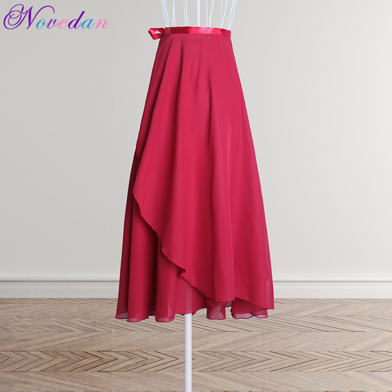 Ballet Dance Women Adults Long Chiffon Pure Color Ballet Wrap Skirts Lyrical Soft Ballet Dress Black Burgundy Dance Costumes