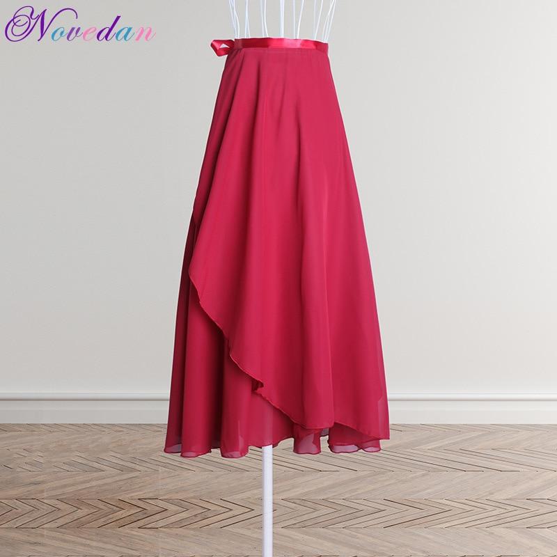Ballet Dance Women Adults Long Chiffon Pure Color Ballet Wrap Skirts Lyrical Soft Ballet Dress Black Burgundy Dance Costumes