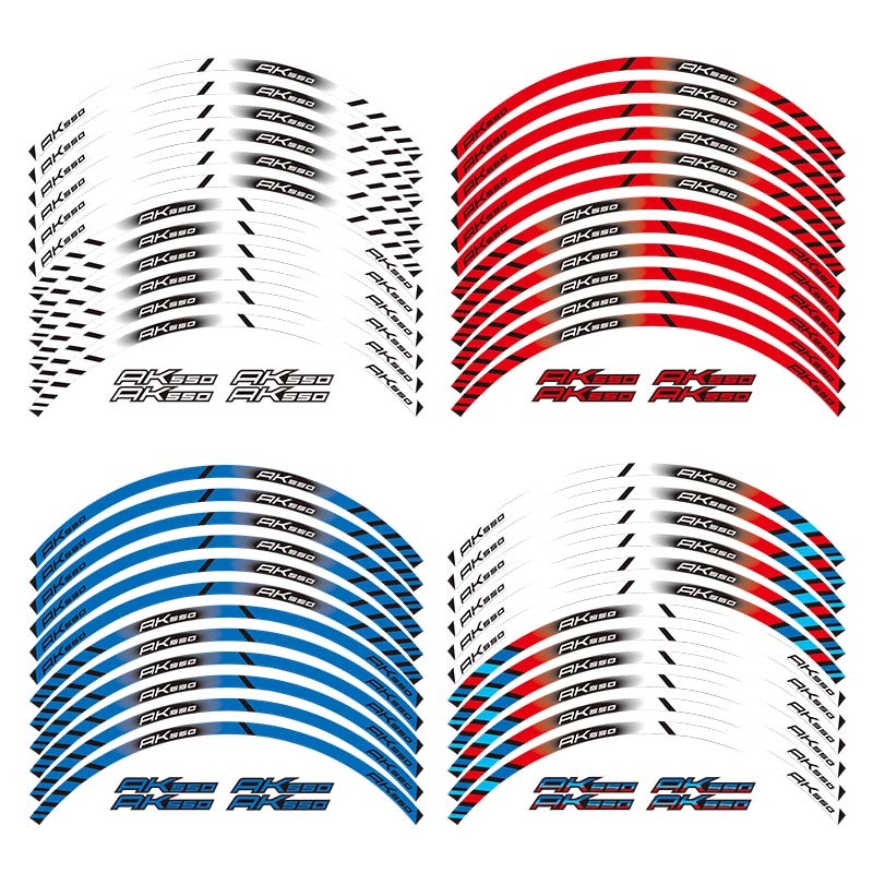 12 X Thick Edge Outer Rim Sticker Stripe Wheel Decals FIT KYMCO AK550 AK 550