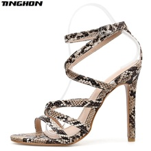 TINGHON Summer High Heels Leopard Gladiator Sandals Women Shoes Sexy Pumps Slides Ladies Hollow Buckle Peep Toe 35-40
