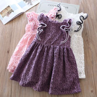 Hurave 2018 Summer Baby Girls Lace Dress Clothes Children Fly Sleeve Kids Crew Neck Causal Ruffles