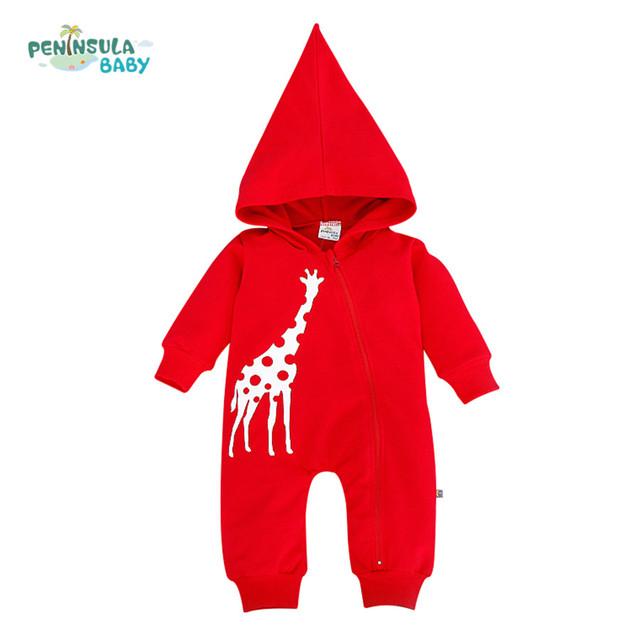 Hoodies do bebê Recém-nascido Macacão Meninos Roupas para o Outono Com Capuz Romper Macacão de Algodão Criança Crianças Trajes Meninas Roupas