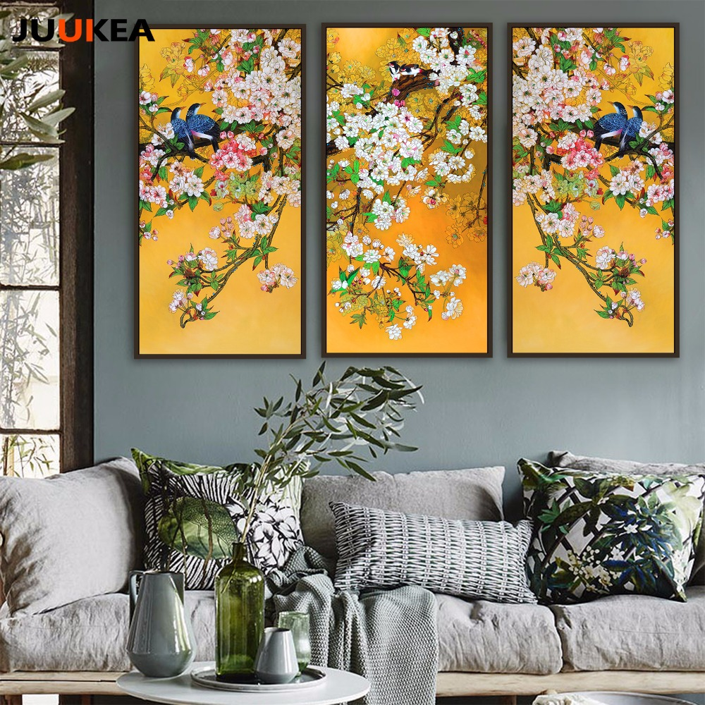 Chinese Style Bird Yellow Plant Landscape Combination Canvas Art ...