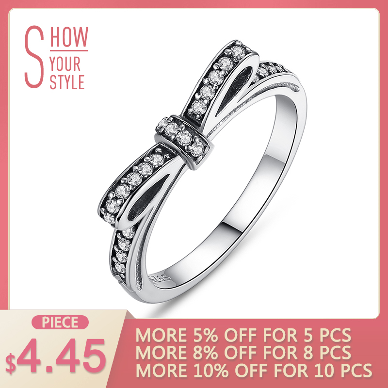 Mode Eropa Otentik 100% 925 Sterling Silver Bow Knot Wedding Ring Dengan Kristal Perhiasan Asli XCH7104