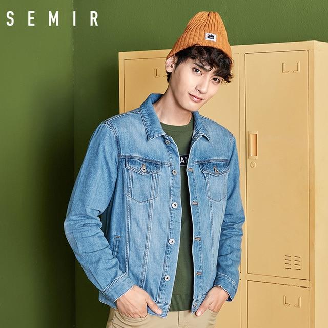 SEMIR denim Jackets men coat dark Blue Casual Teens Denim Jacket cotton Turn-down Collar Long Sleeve Denim Bomber jackets 6