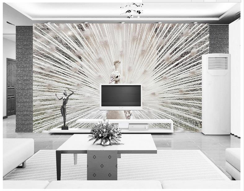 3d photo wallpaper custom 3d murals wallpaper Animals wall paper Solid white peacock background wall murals 3d living room decor custom 3d photo wallpaper mural nordic cartoon animals forests 3d background murals wall paper for chirdlen s room wall paper