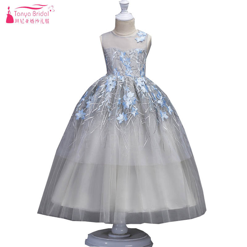 Silver Tulle Flower Girls Dresses For Wedding and Party With Light Blue Floral Lace Appliques Princess Ball Gowns for Girl ZF025