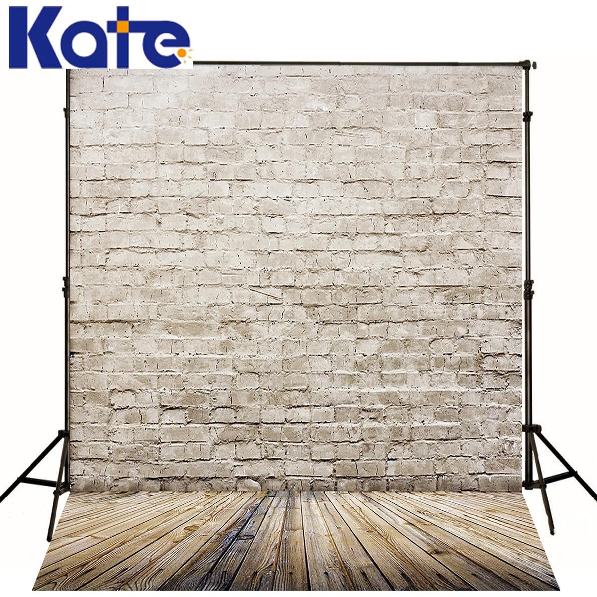 Kate nouveau-né bébé décors Photo rétro blanc brique mur Fond Studio Photo bois Texture plancher toile de Fond pour Photo Shoot