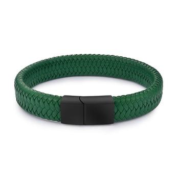 Braided Leather Men's Bracelet with Magnetic Stainless Steel Clasp Bracelets Hot Promotions Jewelry Men Jewelry New Arrivals Metal Color: Green 2 Length: 16.5cm