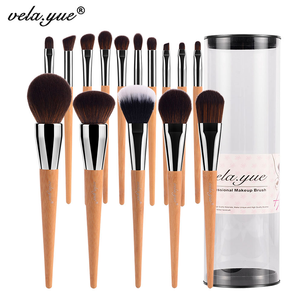 vela.yue Pro Makeup Brushes Set 15pcs Travel Face Cheek Eyes Lips Skönhet Verktygssats med Case Cruelty-Free Technology Collections