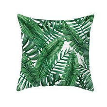 цены Cheap and Top quality 45*45cm square shape decorative pillowcase with tropical plant green leaves printed pillow cover