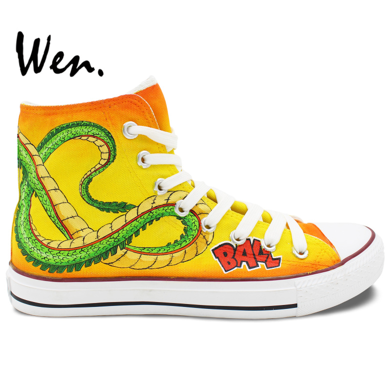 Prix pour Wen Jaune Anime Peint À La Main Toile Chaussures de Dragon Ball Hommes Femmes High Top Toile Sneakers pour Cadeaux D'anniversaire
