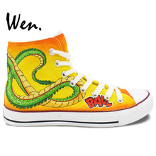 Wen Yellow Anime Hand Painted Canvas Shoes Dragon Ball Men Women's High Top Canvas Sneakers for Birthday Gifts