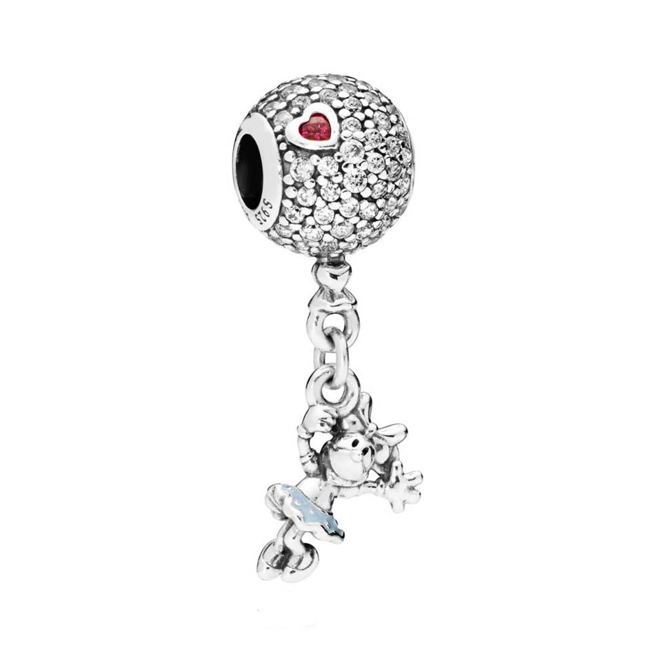 925 Sterling Silver Pendant Bead Fit Original Pandora Bracelets & Bangle Floating Minnie Penant Charm DIY Jewelry набор одноразовых стаканов buffet biсolor цвет оранжевый желтый 200 мл 6 шт