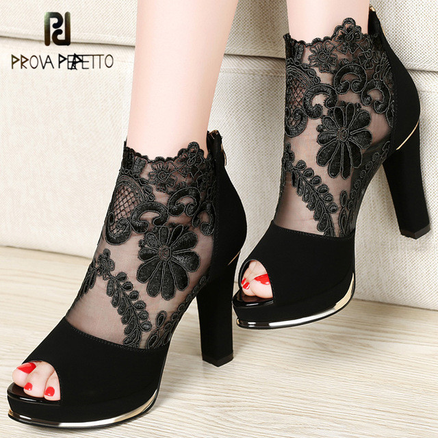 Prova perfetto 2019 New high heels shoes with coarse gauze lace Peep Toe sandals women sandals