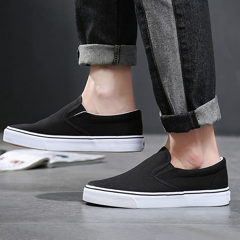Image 2 - Black White Solid Men Casual Shoes Simple Canvas Mens Loafers 2019 High Quality Anti Slip Comfortable Vulcanized Shoes Man Flats-in Men's Casual Shoes from Shoes