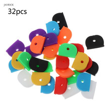 32Pcs Key Caps Tags Label ID Silicone Coding Color Key Identifier Cover 8 Colors 50 in 1 assorted color plastic key id label name card tags keychains keyrings