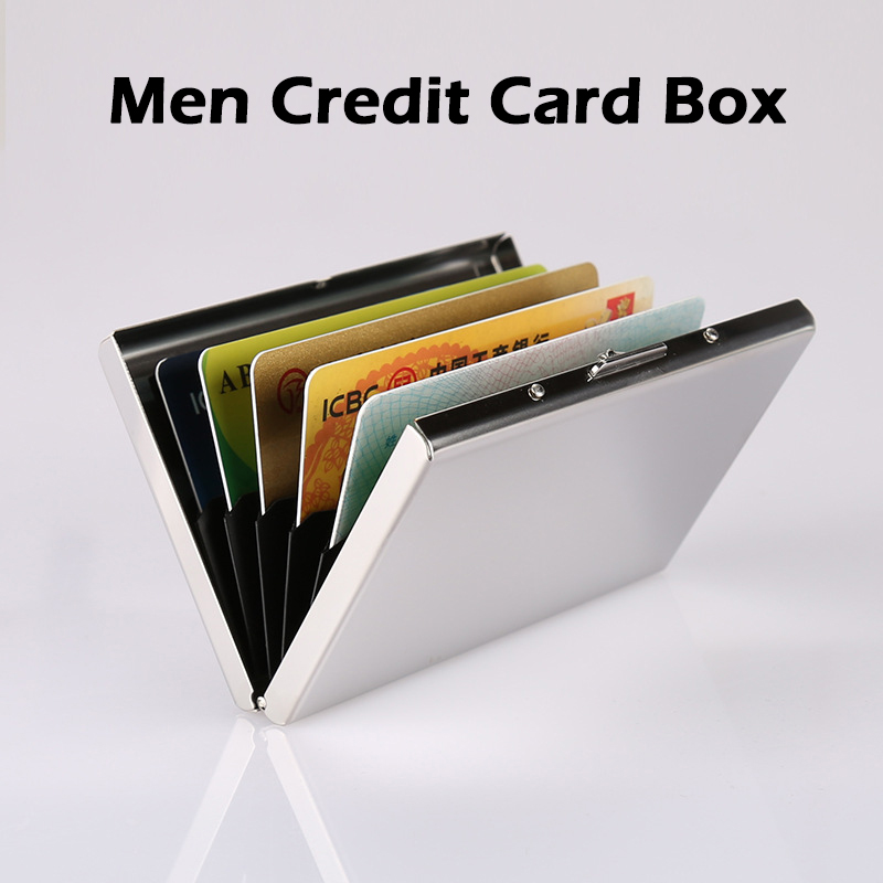 Men Stainless Steel Credit Card Box Holder Slim Anti Protect Travel ID Cardholder Women Rfid Wallet Metal Case Porte Carte