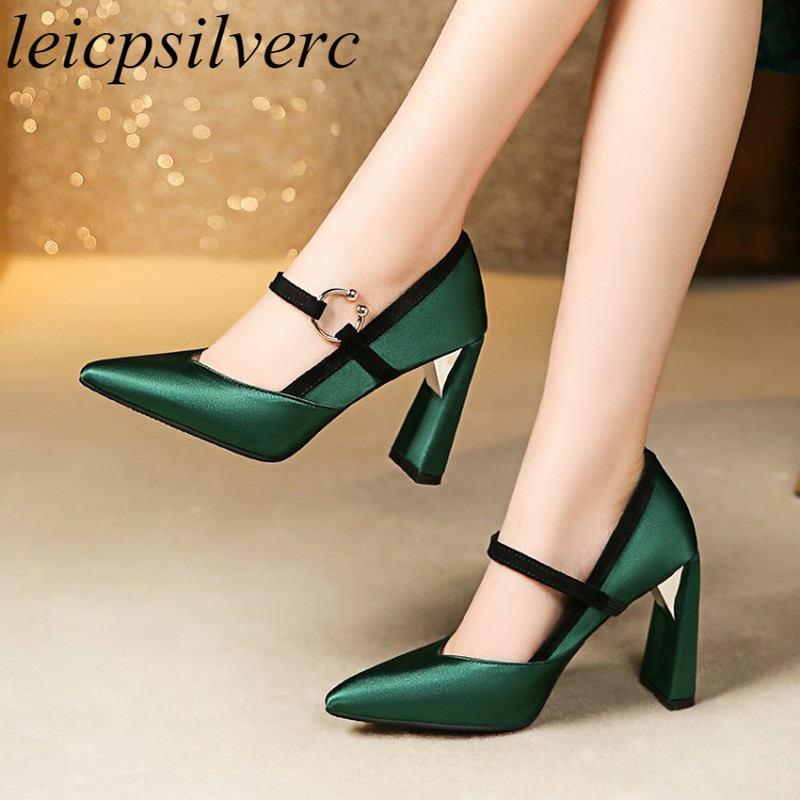 Women's Pumps Super High Heels Strange Style Pointed Toe Slip-on Mixed-colors Silk 2019 Sexy Fashion Spring Autumn Party Casual