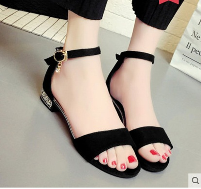 9f5b98b91cf8 NEW metal String Bead Summer Women Sandals Open Toe shoes Women s Sandles  Square heel Women Shoes Korean Style Gladiator Shoes