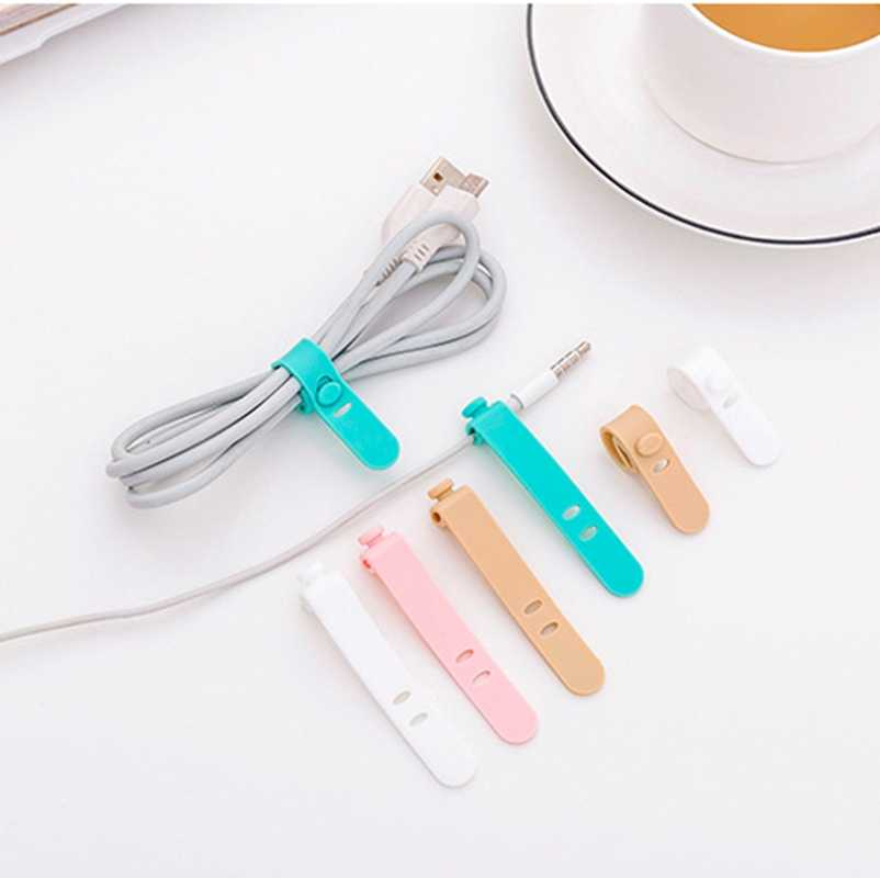 4Pcs Cable Winder Silicone Color USB Charger Sort Out Cute Line Winder Bag Clip Decro Cable Winder Protector Headphone Cord Clip