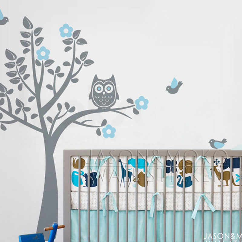 Cartoon Owl Tree Bird Animal Flowers Wall Sticker Decal Mural ...