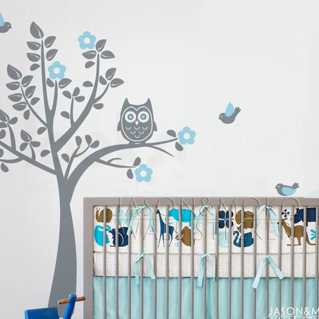 Cartoon Owl Tree Bird Animal Flowers Wall Sticker Decal Mural Wallpaper  Nursery Children Baby Room Modern