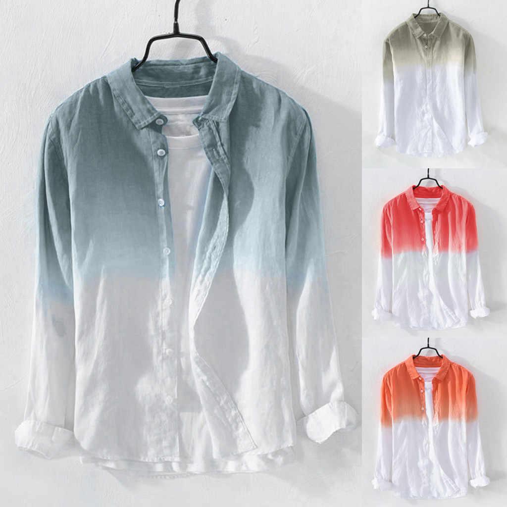 男性のシャツ夏のファッションラペル首輪ハンギングスリーブ染色グラデーションクール薄型通気性コットンリネンブラウスルーズトップ