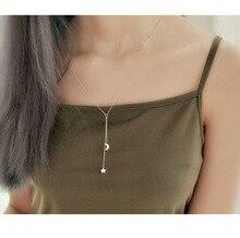 Star Moon 925 Sterling Silver Tassel Necklace