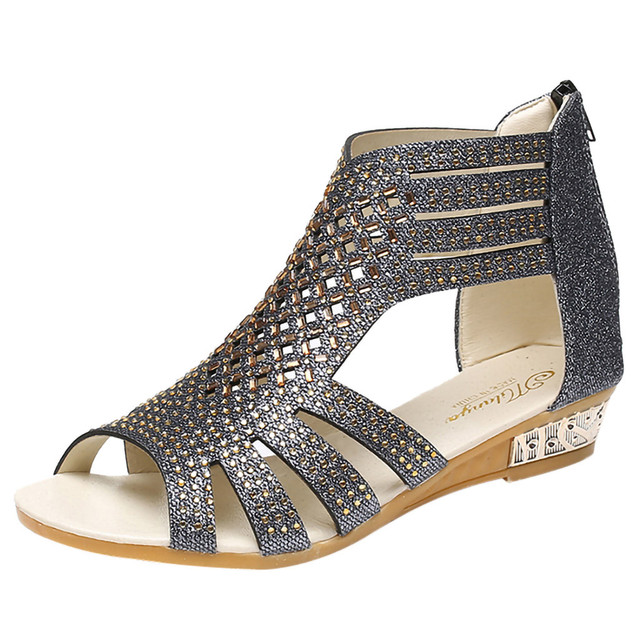 SAGACE Women's Ladies Wedge Sandals Fashion Crystal Bling Hollow Out Roman Shoes Sexy High Quality Outside Summer Ladies Shoes Uncategorized Ladies Shoes Women's Fashion