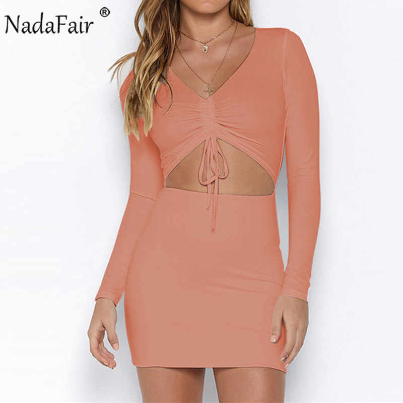 Nadafair с длинным рукавом выдалбливают женское сексуальное облегающее платье Весна ruched кружевное тонкое мини Клубное вечернее платье Красный Черный Белый