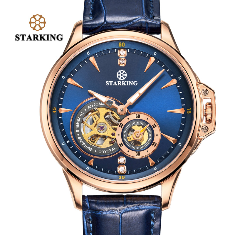 <font><b>STARKING</b></font> Retro Blue Mens Watches Top Brand Luxury Fashion Male Wristwatch <font><b>Sapphire</b></font> <font><b>Automatic</b></font> Mechanical Watch Relogio Masculino image