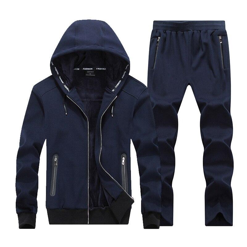 2018 mode hiver hommes sport costume Hoodies veste + pantalon épais survêtement deux pièces ensemble survêtement pour hommes vêtements 8XL grande taille