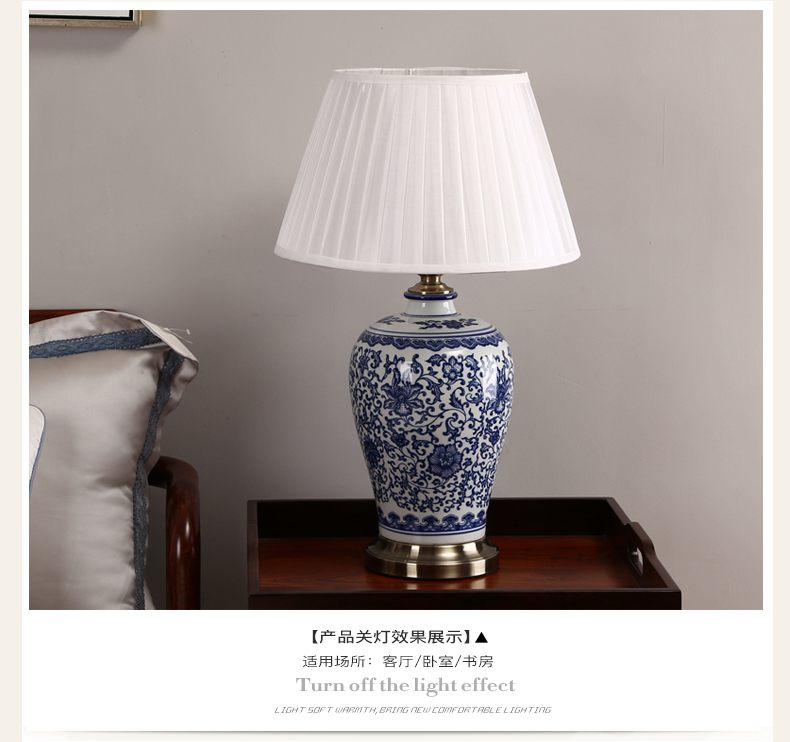 Chinese Blue and White Porcelain Desk Lamps Dimmable China Flower ...