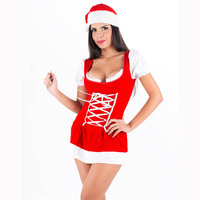 Wholesale Christmas Tutu Dress Sexy Short Sleeve Holiday Time Bar Maid Dresses And Hat Fancy Costume Disfraces Adultos
