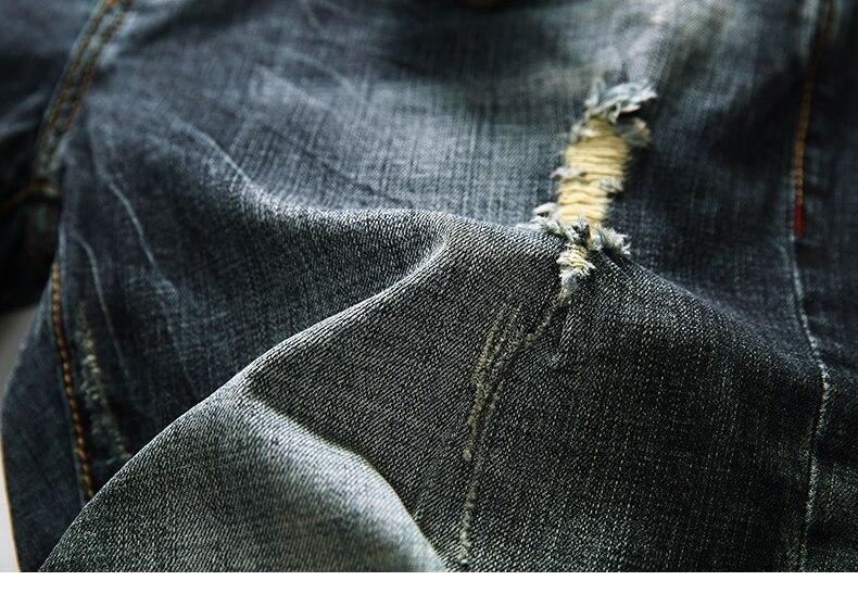 KSTUN Men's Shorts Jeans Dark Blue Stretch Retro Fashion Pockets Designer Poker Printed Ripped Biker Motor Jeans Denim Pants 16