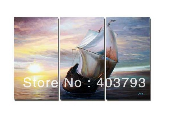modern abstract fashion oil painting on canvas for home decoration Sailing ship in the fire free shipping