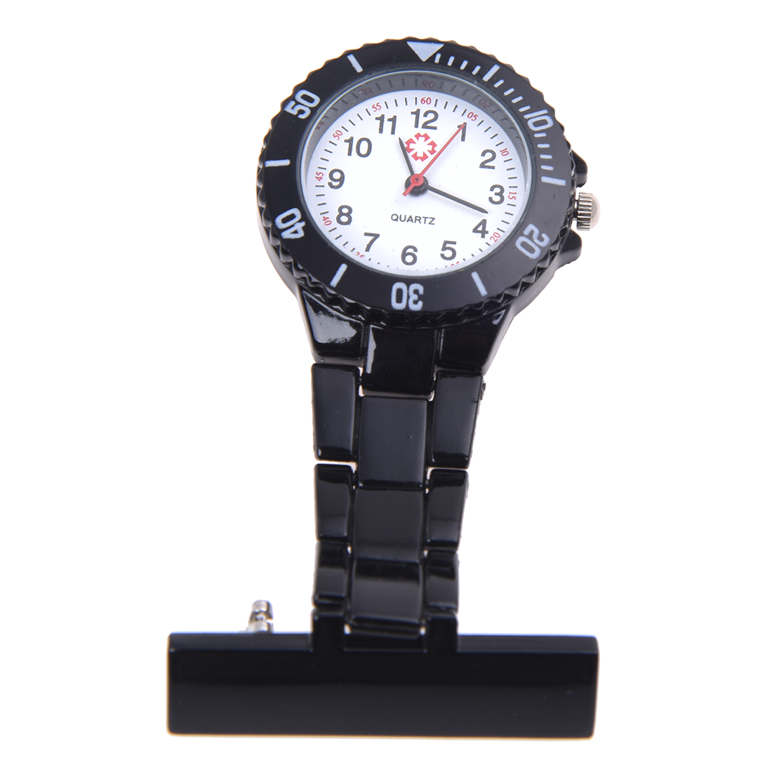 Practical Black Quartz Movement Nurse Brooch Fob Tunic Pocket Pendant Watch