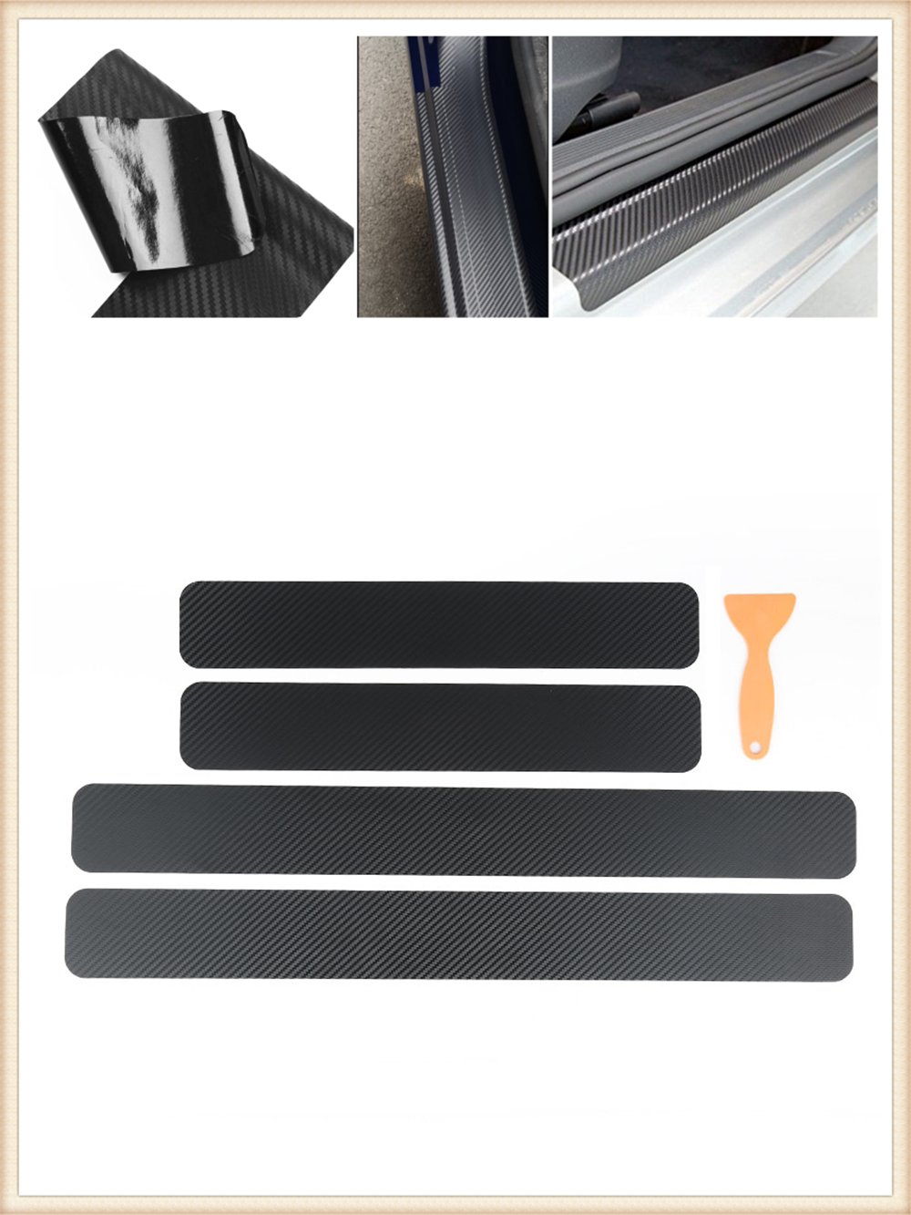 4 pieces of car shape carbon fiber door edge scratch protection film for Mercedes Benz ML500 ML350 GL450 B200 B150 CLK63 R F700