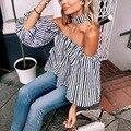 Mujeres Camiseta Cuello Slash Linterna Media Manga Camiseta Floja tops Sexy hombro ladies Streetwear camisetas Rayadas Con Gargantilla Y2
