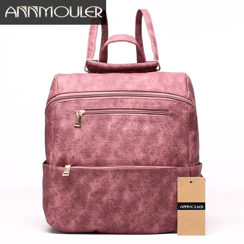 Annmouler Women Fashion Backpack Pu Leather Shoulder Bag 7 Colors Casual Daypack High Quality Solid Color School Bag for Girls mma backpack box ing shoulder ufc memory gifts daypack for friends
