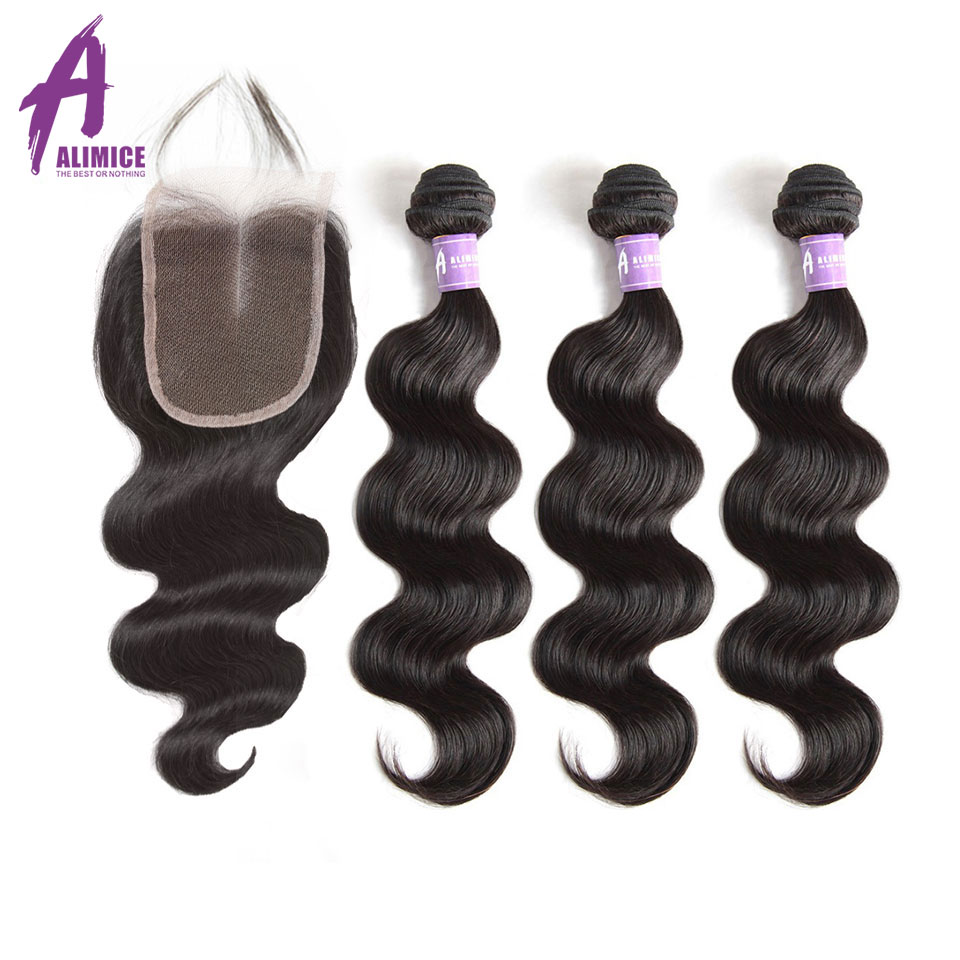 Alimice Hair Indian Body Wave Hair Weaves 3 Bundles With Closure Human Hair Weave Bundles With Closures Non Remy Hair Extensions