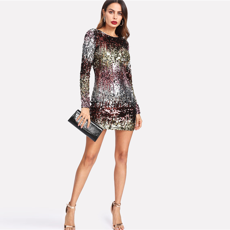 COLROVIE Iridescent Sequin Dress 2018 Round Neck Long Sleeve Sexy Party Dress With Zipper Women Sheath Autumn Short Dress 15