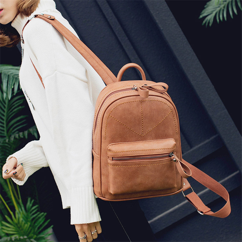 Korean Vintage Women Black Backpacks 2018 Solid Leather PU School Backpack For Teenage Girls Casual Large Capacity Shoulder Bags new arrival vintage men pu leather backpacks large capacity zipper solid backpack for teenagers high quality black shoulder bags