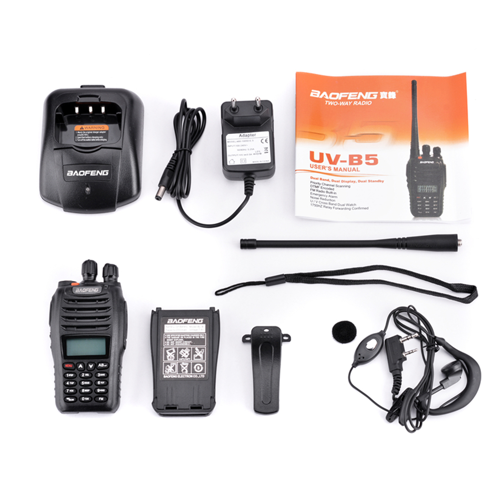 2Pcs Baofeng UV B5 Walkie Talkie 199 Channel Two Way Radio UHF VHF Long Range Handheld FM HF Transceiver Ham Radio Comunicador in Walkie Talkie from Cellphones Telecommunications