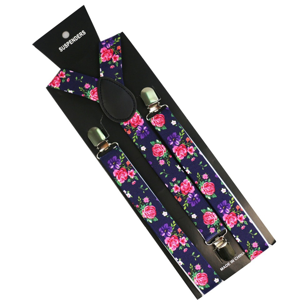 Winfox New Purple Pink Flower Floral Print Adjustable Mens Womens Unisex Clip-on Suspenders Unisex Elastic Y-Shape Braces